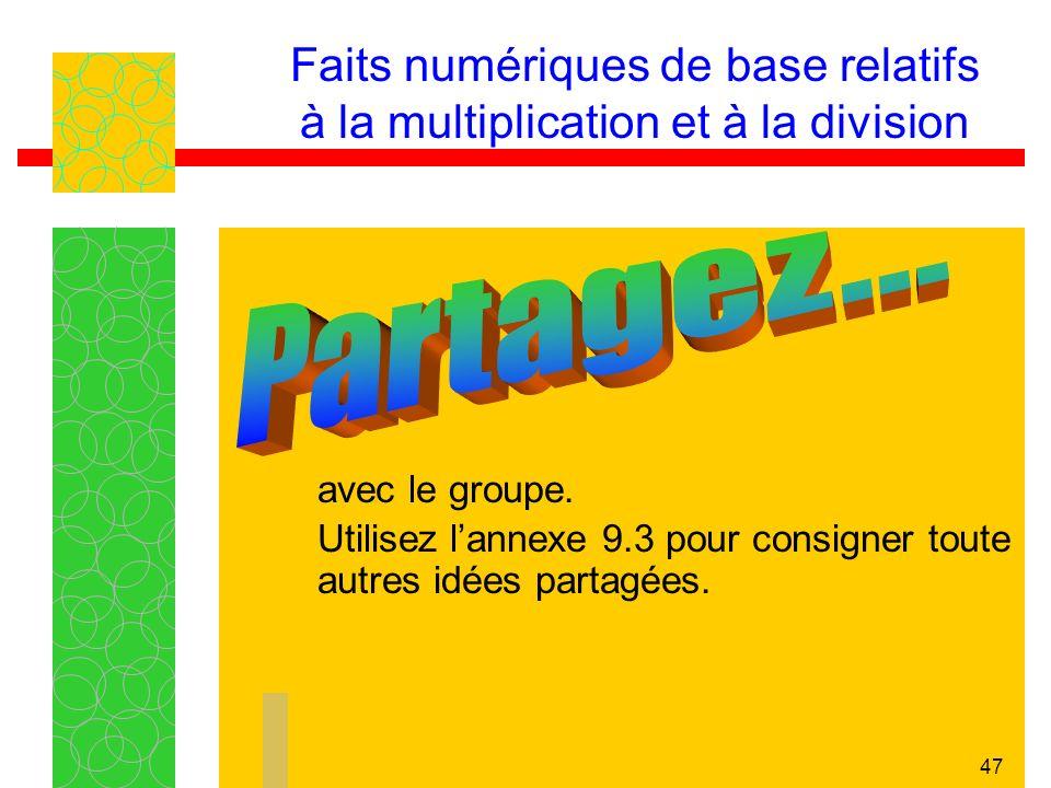 46 Faits numériques de base relatifs à la multiplication et à la division Chaque équipe doit consigner dans lannexe 9.3 un résumé des idées principale