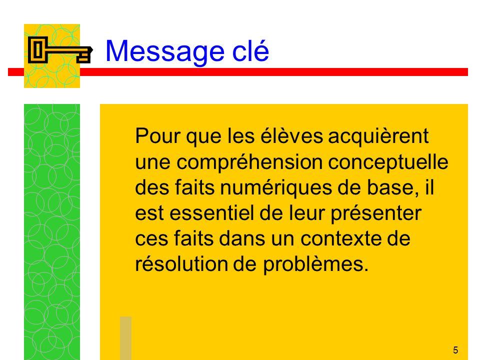 5 Message clé Pour que les élèves acquièrent une compréhension conceptuelle des faits numériques de base, il est essentiel de leur présenter ces faits dans un contexte de résolution de problèmes.