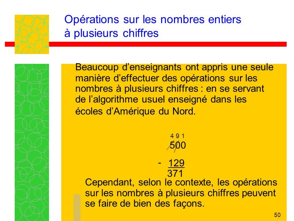 50 Opérations sur les nombres entiers à plusieurs chiffres Beaucoup denseignants ont appris une seule manière deffectuer des opérations sur les nombres à plusieurs chiffres : en se servant de lalgorithme usuel enseigné dans les écoles dAmérique du Nord.