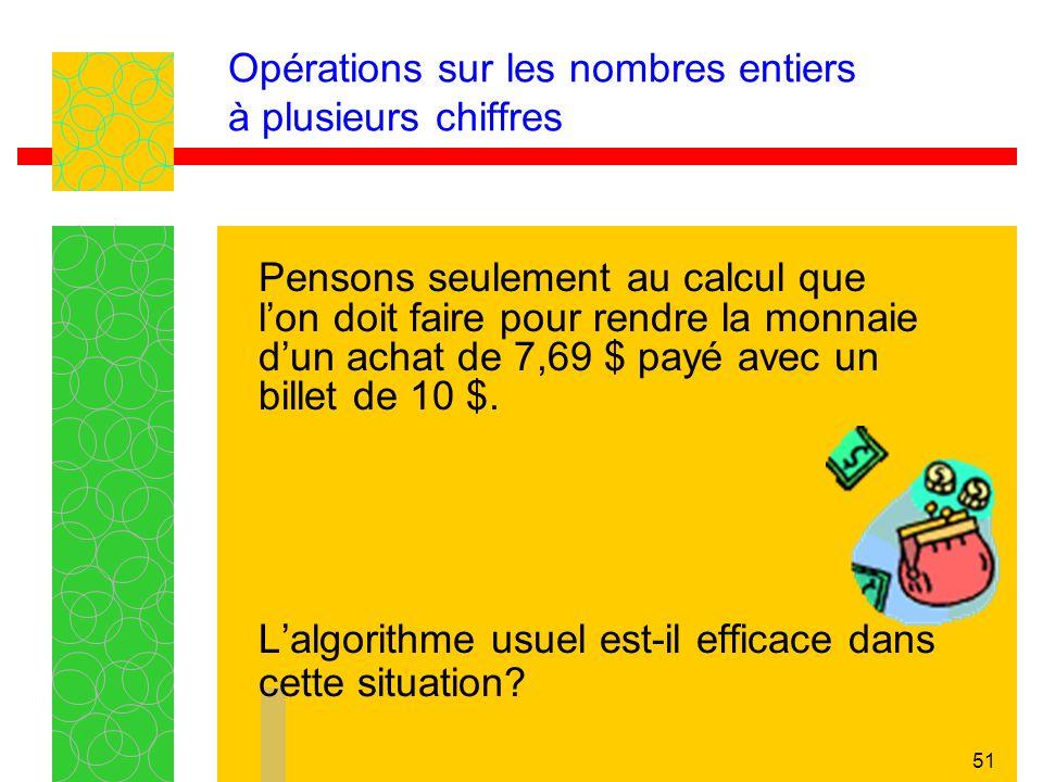 51 Opérations sur les nombres entiers à plusieurs chiffres Pensons seulement au calcul que lon doit faire pour rendre la monnaie dun achat de 7,69 $ payé avec un billet de 10 $.
