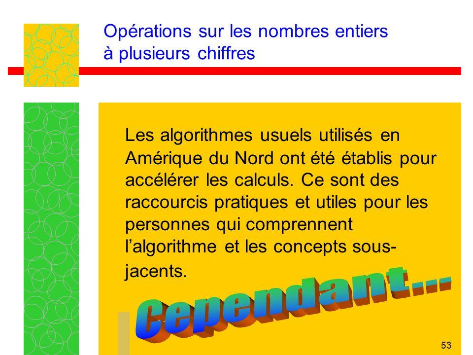 53 Opérations sur les nombres entiers à plusieurs chiffres Les algorithmes usuels utilisés en Amérique du Nord ont été établis pour accélérer les calculs.