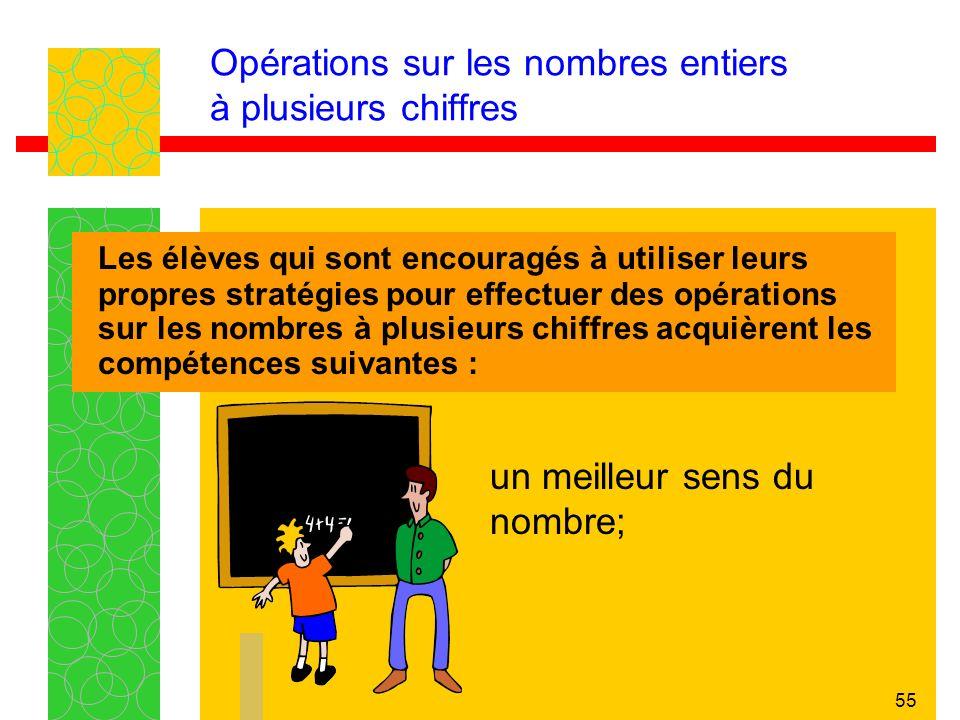 55 Opérations sur les nombres entiers à plusieurs chiffres Les élèves qui sont encouragés à utiliser leurs propres stratégies pour effectuer des opérations sur les nombres à plusieurs chiffres acquièrent les compétences suivantes : un meilleur sens du nombre;