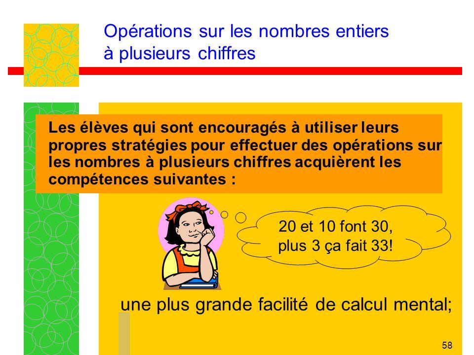 57 Opérations sur les nombres entiers à plusieurs chiffres Les élèves qui sont encouragés à utiliser leurs propres stratégies pour effectuer des opéra