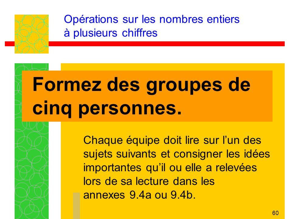 60 Opérations sur les nombres entiers à plusieurs chiffres Formez des groupes de cinq personnes.