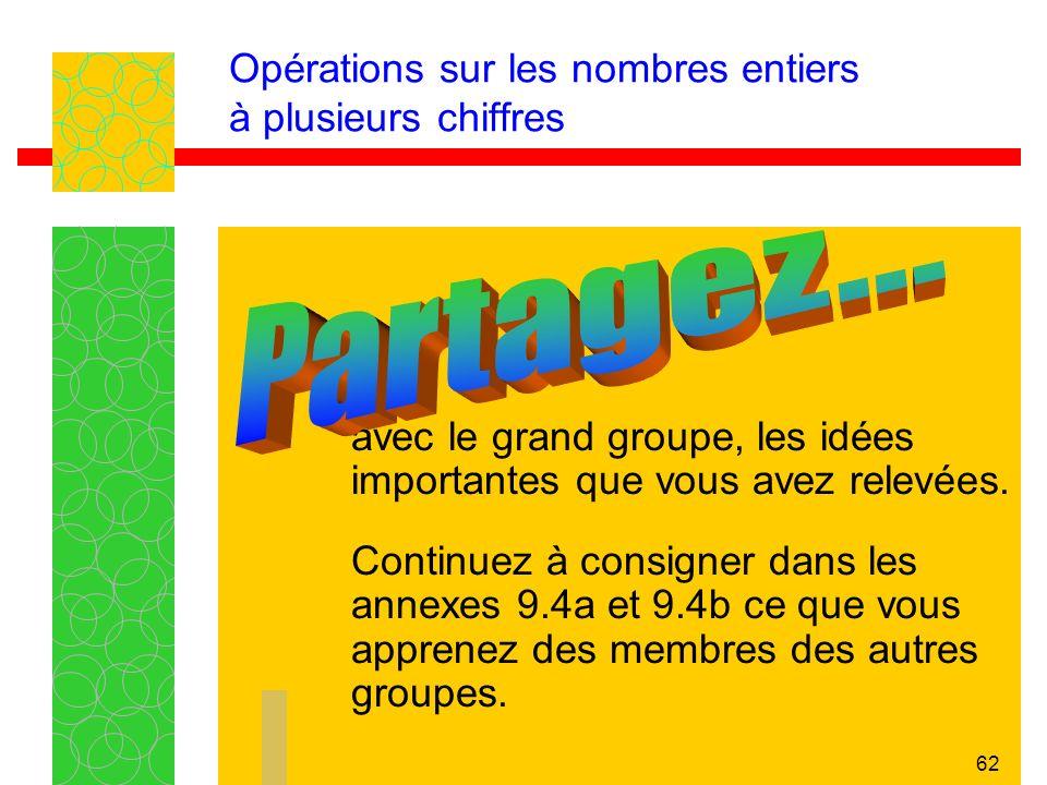 62 Opérations sur les nombres entiers à plusieurs chiffres avec le grand groupe, les idées importantes que vous avez relevées.