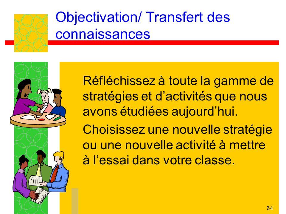 64 Objectivation/ Transfert des connaissances Réfléchissez à toute la gamme de stratégies et dactivités que nous avons étudiées aujourdhui.