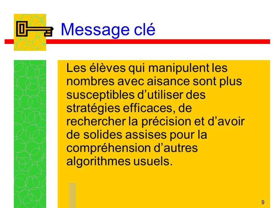 9 Message clé Les élèves qui manipulent les nombres avec aisance sont plus susceptibles dutiliser des stratégies efficaces, de rechercher la précision et davoir de solides assises pour la compréhension dautres algorithmes usuels.