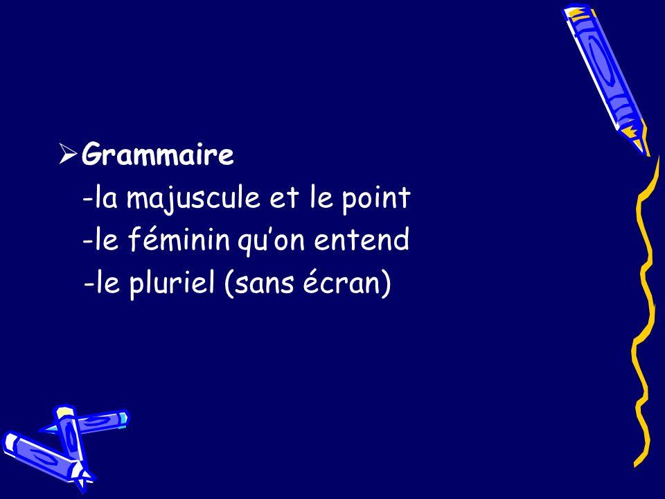 Grammaire -la majuscule et le point -le féminin quon entend -le pluriel (sans écran)