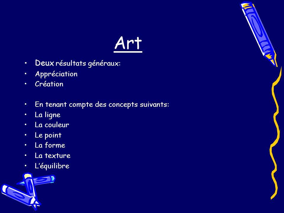 Art Deux résultats généraux: Appréciation Création En tenant compte des concepts suivants: La ligne La couleur Le point La forme La texture Léquilibre