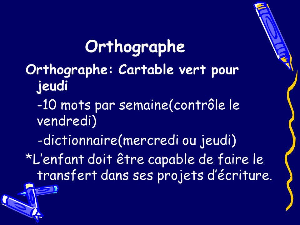Orthographe Orthographe: Cartable vert pour jeudi -10 mots par semaine(contrôle le vendredi) -dictionnaire(mercredi ou jeudi) *Lenfant doit être capab