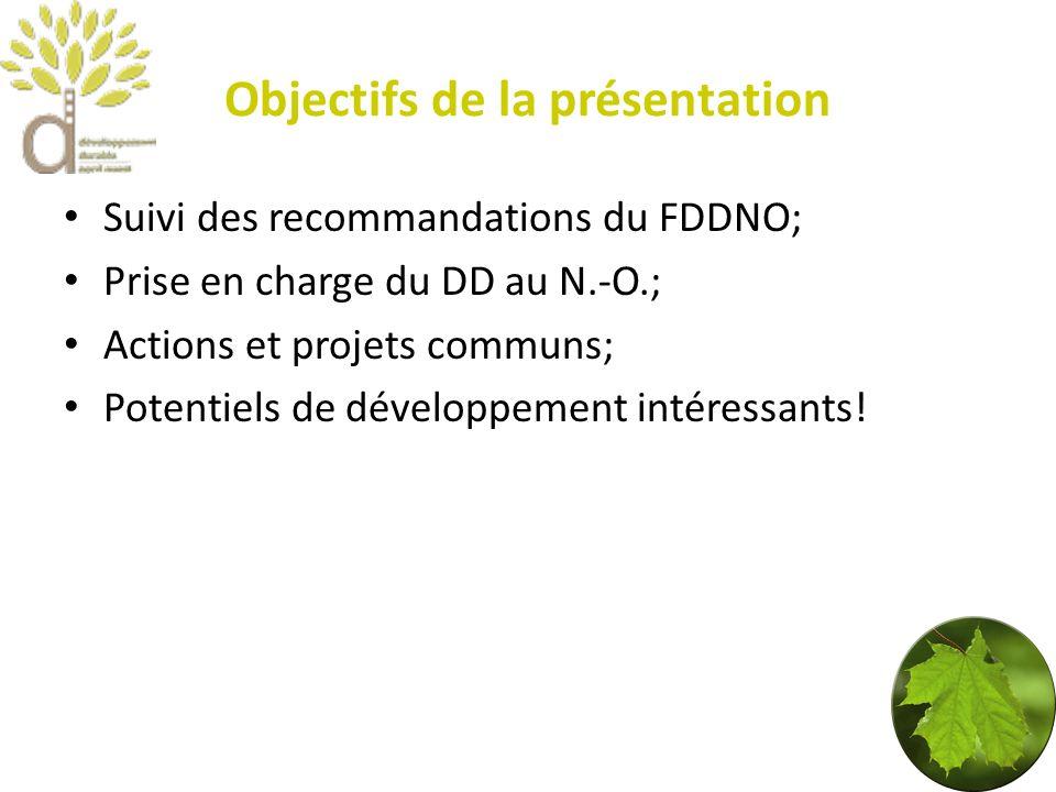 Objectifs de la présentation Suivi des recommandations du FDDNO; Prise en charge du DD au N.-O.; Actions et projets communs; Potentiels de développement intéressants!