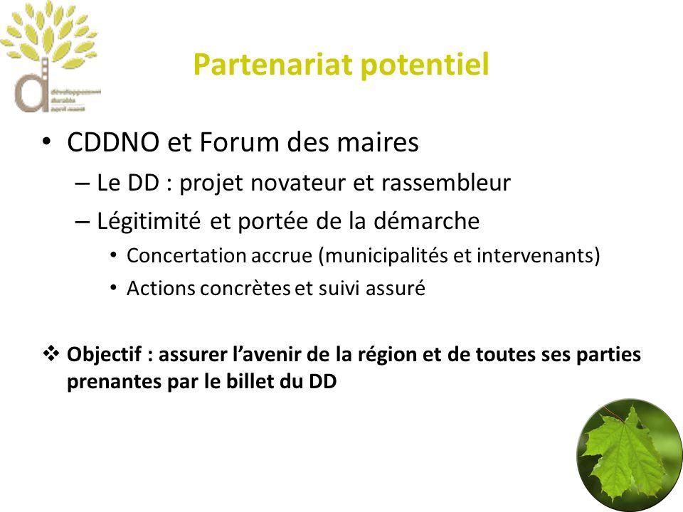 Partenariat potentiel CDDNO et Forum des maires – Le DD : projet novateur et rassembleur – Légitimité et portée de la démarche Concertation accrue (municipalités et intervenants) Actions concrètes et suivi assuré Objectif : assurer lavenir de la région et de toutes ses parties prenantes par le billet du DD 7