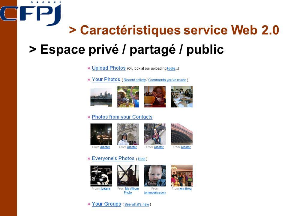 > Caractéristiques service Web 2.0 > Espace privé / partagé / public