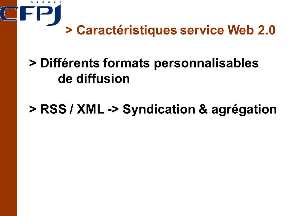 > Caractéristiques service Web 2.0 > Différents formats personnalisables de diffusion > RSS / XML -> Syndication & agrégation