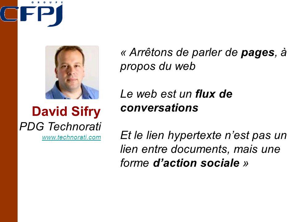 David Sifry PDG Technorati www.technorati.com « Arrêtons de parler de pages, à propos du web Le web est un flux de conversations Et le lien hypertexte nest pas un lien entre documents, mais une forme daction sociale »