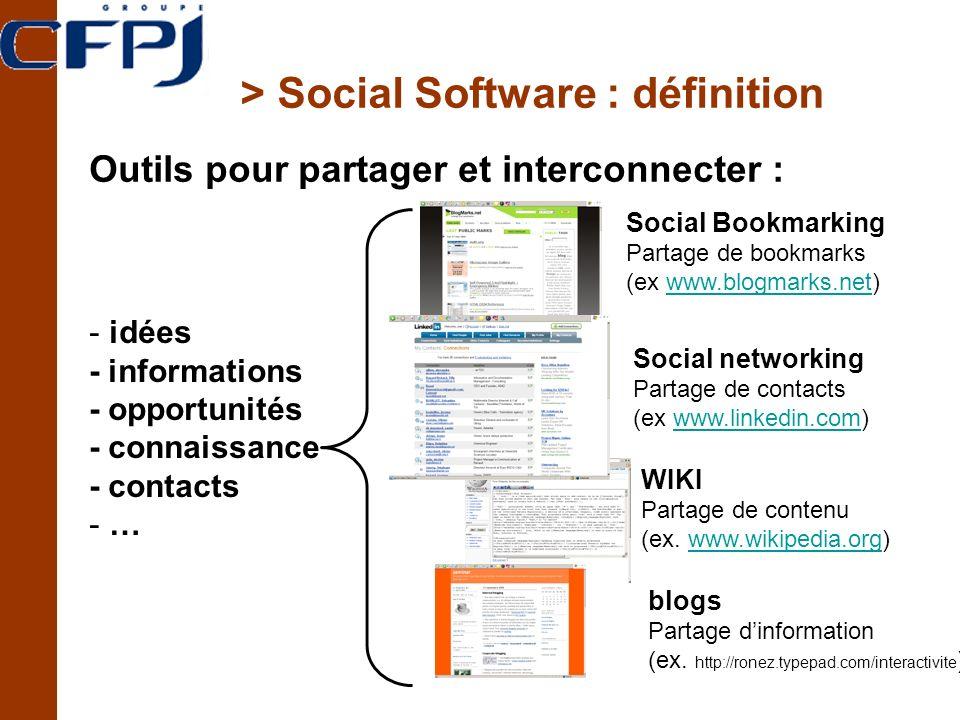> Social Software : définition Outils pour partager et interconnecter : Social Bookmarking Partage de bookmarks (ex www.blogmarks.net)www.blogmarks.net Social networking Partage de contacts (ex www.linkedin.com)www.linkedin.com WIKI Partage de contenu (ex.