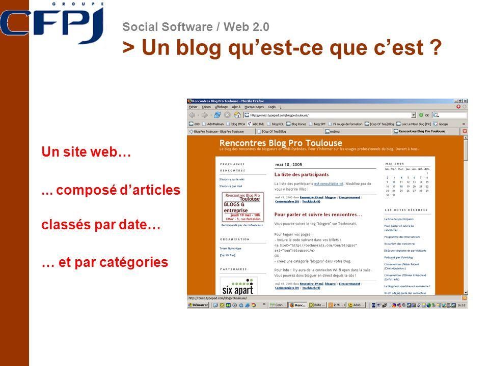 > Un blog quest-ce que cest ? Un site web…... composé darticles classés par date… … et par catégories Social Software / Web 2.0