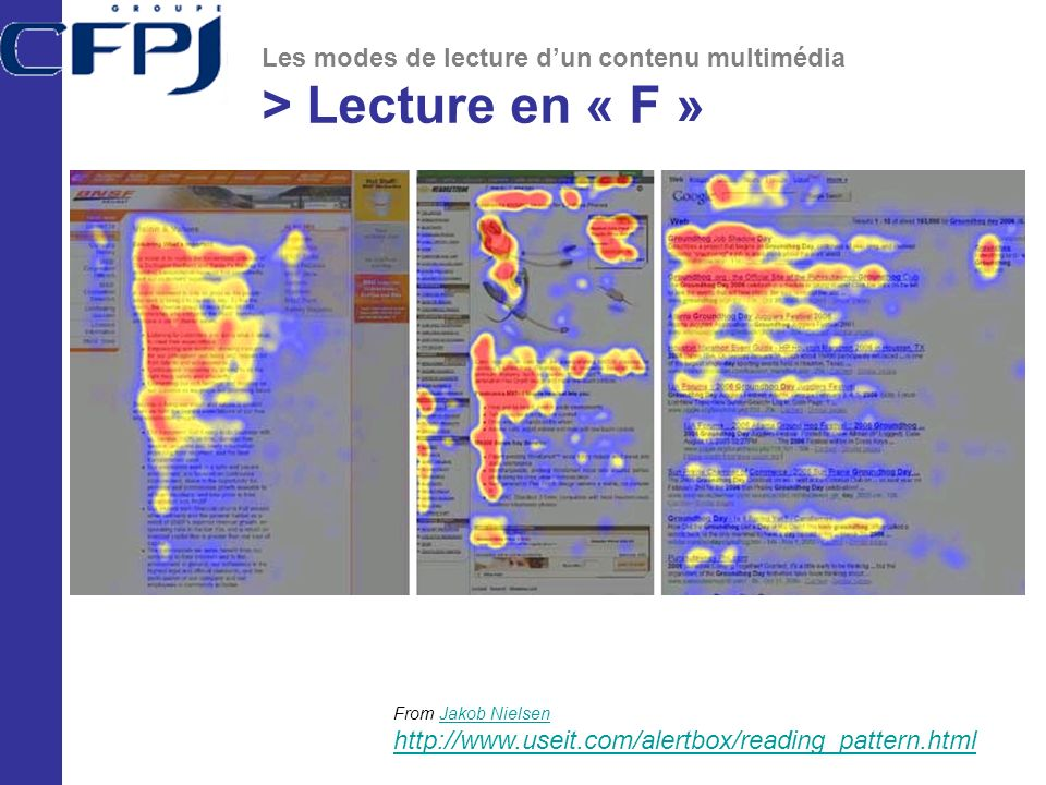 Les modes de lecture dun contenu multimédia > Lecture en « F » From Jakob Nielsen http://www.useit.com/alertbox/reading_pattern.htmlJakob Nielsen http://www.useit.com/alertbox/reading_pattern.html
