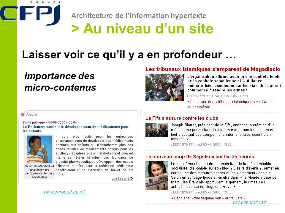 Architecture de linformation hypertexte > Au niveau dun site Laisser voir ce quil y a en profondeur … www.europarl.eu.int www.liberation.fr Importance