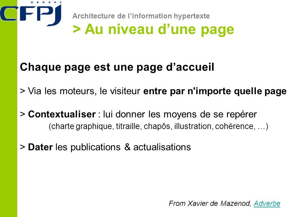 Architecture de linformation hypertexte > Au niveau dune page From Xavier de Mazenod, AdverbeAdverbe Chaque page est une page daccueil > Via les moteu