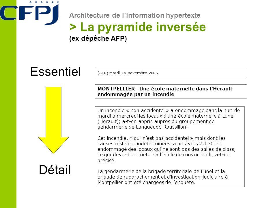 Architecture de linformation hypertexte > La pyramide inversée (ex dépêche AFP) Essentiel Détail (AFP) Mardi 16 novembre 2005 Un incendie « non accide
