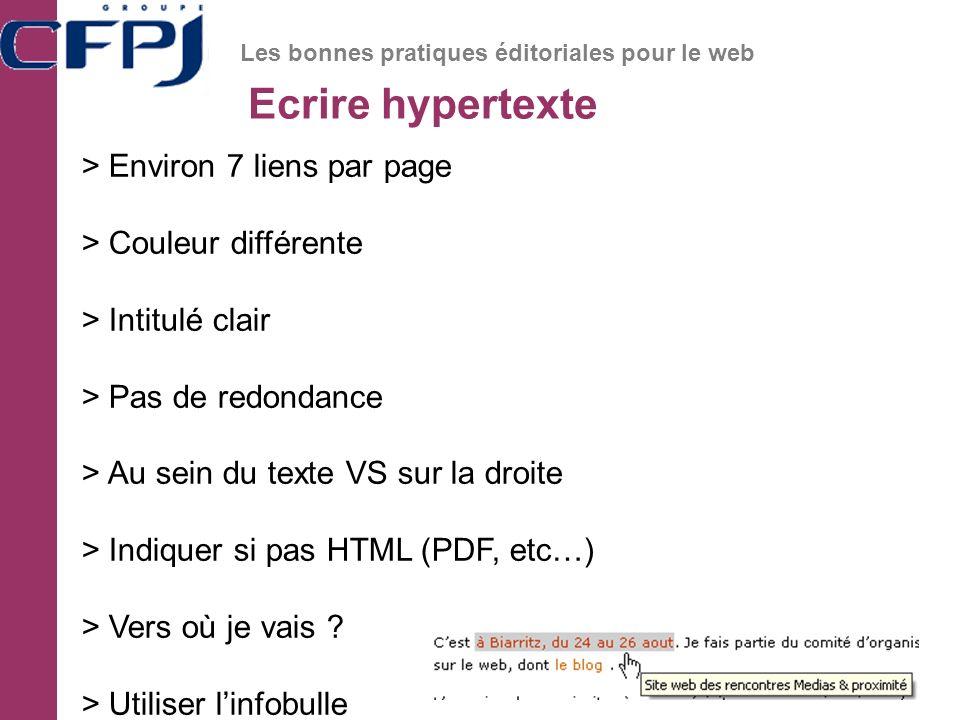 Ecrire hypertexte Les bonnes pratiques éditoriales pour le web > Environ 7 liens par page > Couleur différente > Intitulé clair > Pas de redondance > Au sein du texte VS sur la droite > Indiquer si pas HTML (PDF, etc…) > Vers où je vais .