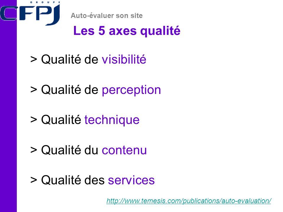 Les 5 axes qualité Auto-évaluer son site http://www.temesis.com/publications/auto-evaluation/ > Qualité de visibilité > Qualité de perception > Qualité technique > Qualité du contenu > Qualité des services