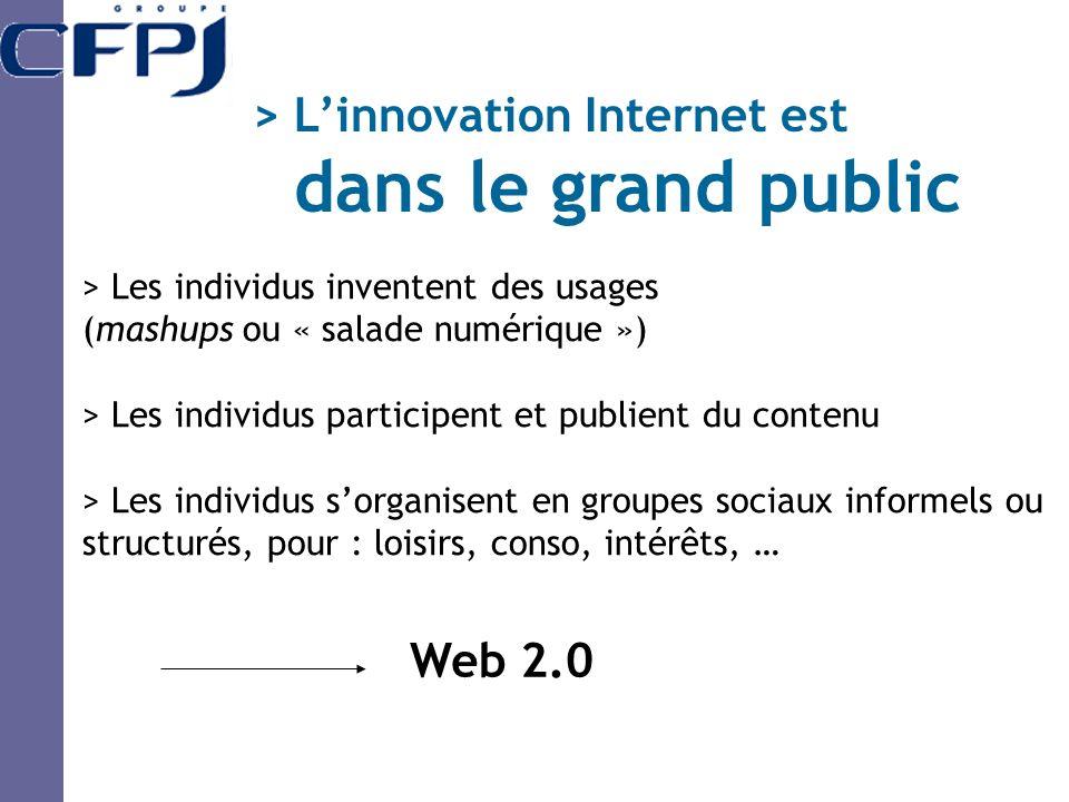 > Les individus inventent des usages (mashups ou « salade numérique ») > Les individus participent et publient du contenu > Les individus sorganisent en groupes sociaux informels ou structurés, pour : loisirs, conso, intérêts, … Web 2.0