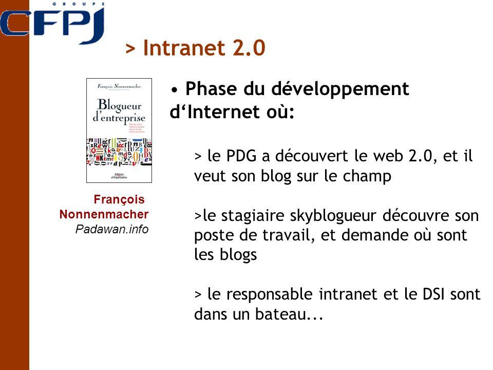 François Nonnenmacher Padawan.info Phase du développement dInternet où: > le PDG a découvert le web 2.0, et il veut son blog sur le champ >le stagiaire skyblogueur découvre son poste de travail, et demande où sont les blogs > le responsable intranet et le DSI sont dans un bateau...
