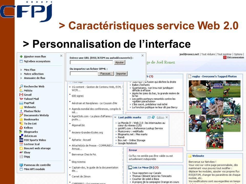 > Caractéristiques service Web 2.0 > Personnalisation de linterface