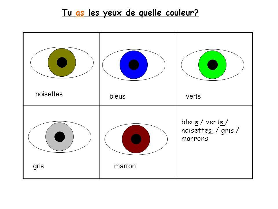 Tu as les yeux de quelle couleur? bleus / verts / noisettes / gris / marrons noisettes bleusverts grismarron