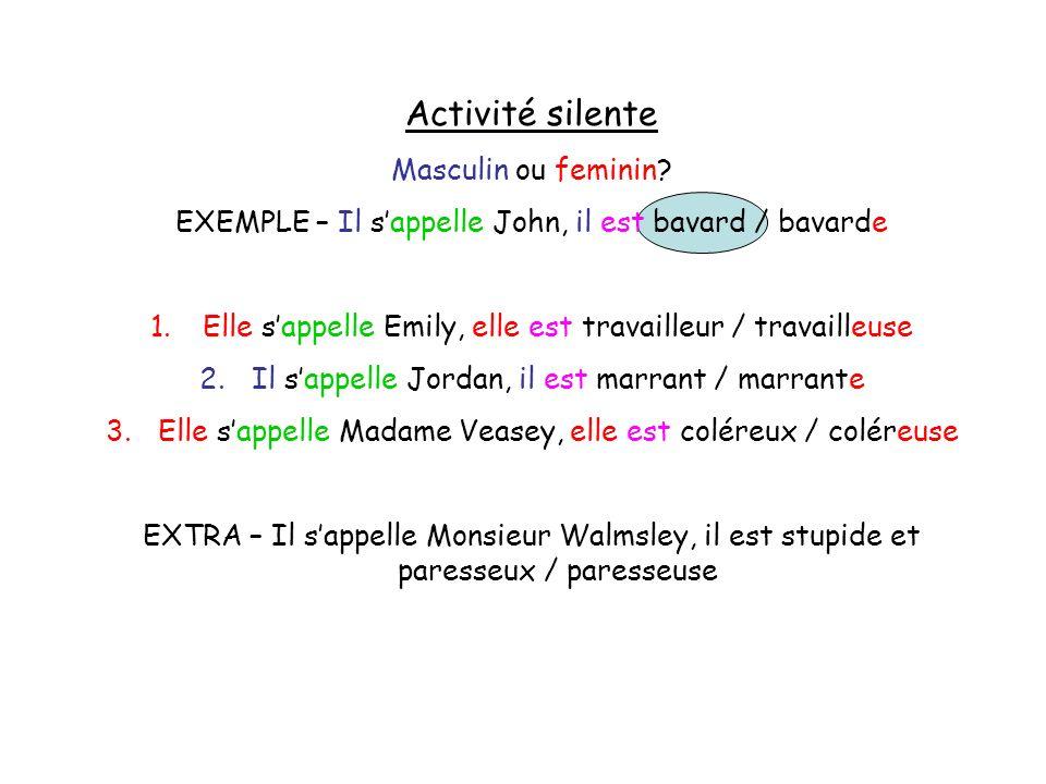 Activité silente Masculin ou feminin? EXEMPLE – Il sappelle John, il est bavard / bavarde 1.Elle sappelle Emily, elle est travailleur / travailleuse 2