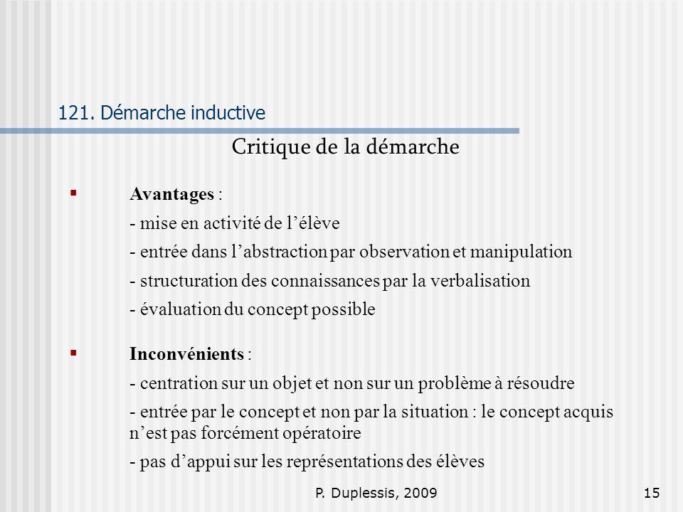 P. Duplessis, 200915 121. Démarche inductive Critique de la démarche Avantages : - mise en activité de lélève - entrée dans labstraction par observati