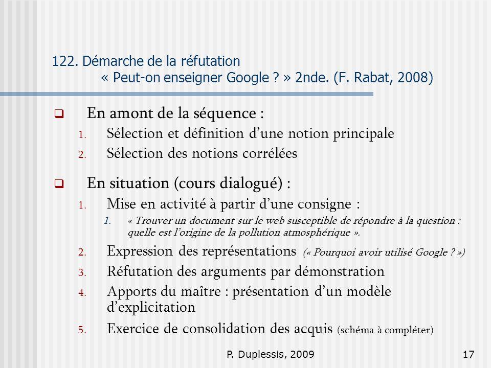 P. Duplessis, 200917 122. Démarche de la réfutation « Peut-on enseigner Google ? » 2nde. (F. Rabat, 2008) En amont de la séquence : 1. Sélection et dé