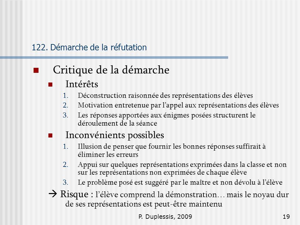 P. Duplessis, 200919 122. Démarche de la réfutation Critique de la démarche Intérêts 1.Déconstruction raisonnée des représentations des élèves 2.Motiv