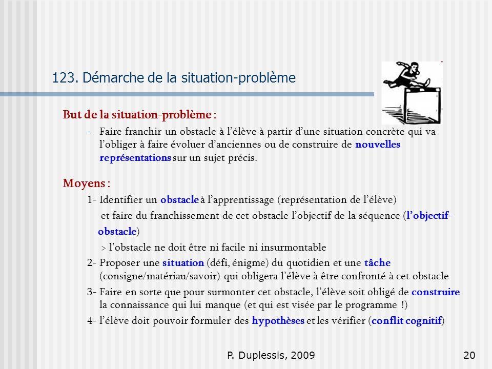 P. Duplessis, 200920 123. Démarche de la situation-problème But de la situation-problème : -Faire franchir un obstacle à lélève à partir dune situatio