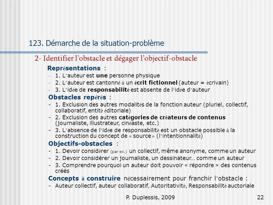P. Duplessis, 200922 123. Démarche de la situation-problème 2- Identifier lobstacle et dégager lobjectif-obstacle Repr é sentations : - 1. L auteur es