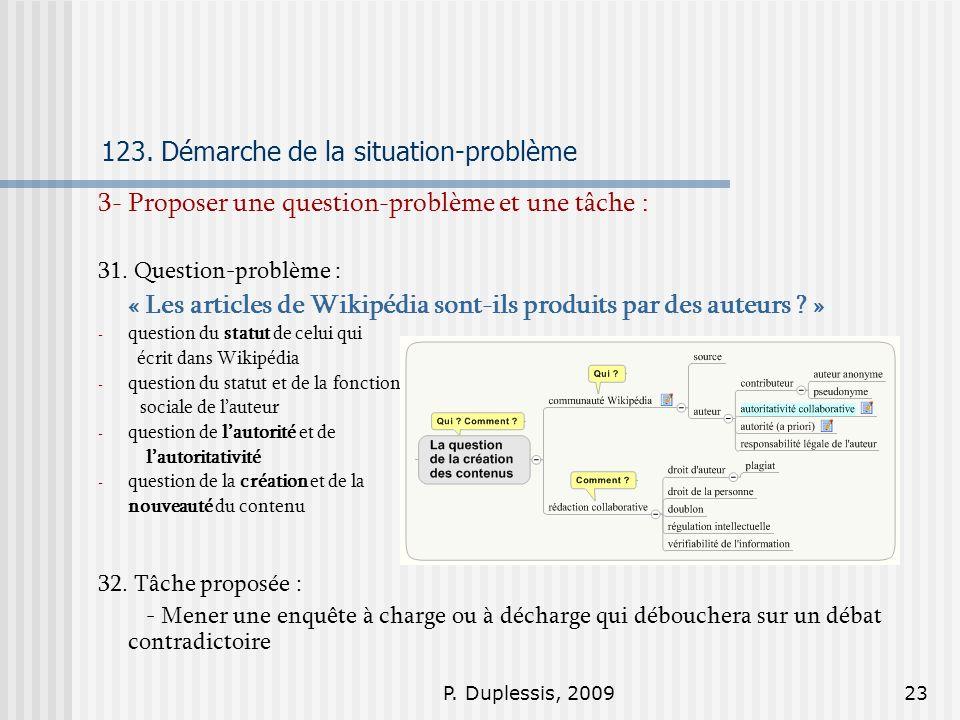 P. Duplessis, 200923 123. Démarche de la situation-problème 3- Proposer une question-problème et une tâche : 31. Question-problème : « Les articles de