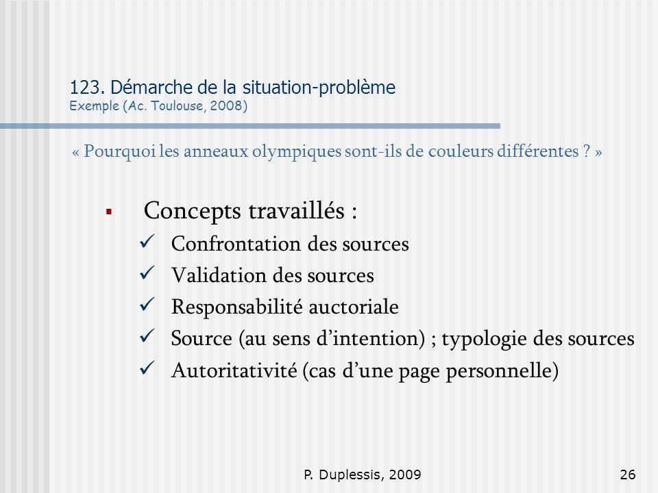 P. Duplessis, 200926 123. Démarche de la situation-problème Exemple (Ac. Toulouse, 2008) « Pourquoi les anneaux olympiques sont-ils de couleurs différ