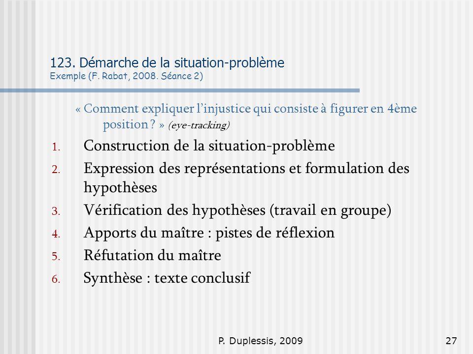P. Duplessis, 200927 123. Démarche de la situation-problème Exemple (F. Rabat, 2008. Séance 2) « Comment expliquer linjustice qui consiste à figurer e