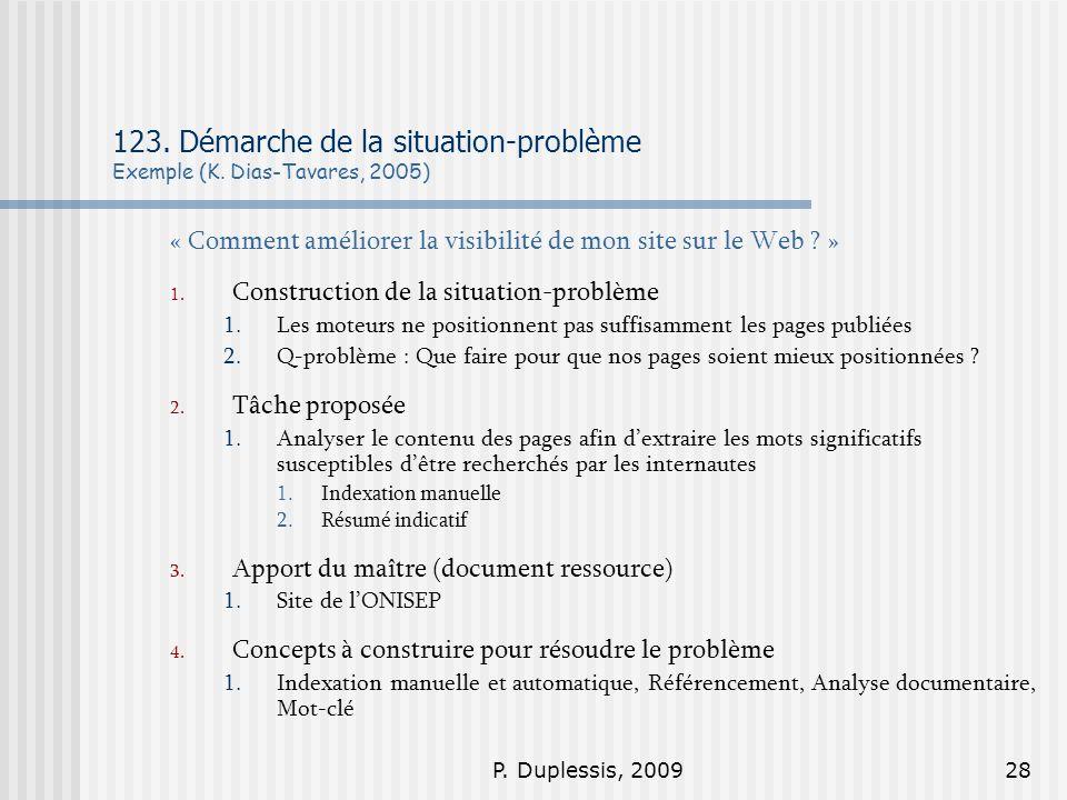 P.Duplessis, 200928 123. Démarche de la situation-problème Exemple (K.