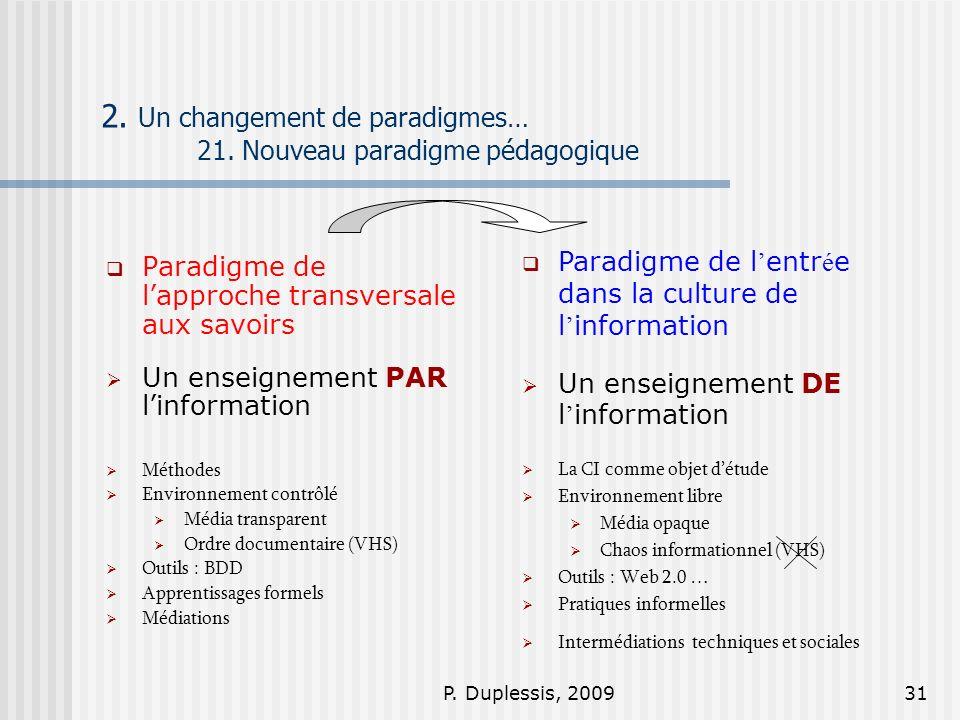 P. Duplessis, 200931 2. Un changement de paradigmes… 21. Nouveau paradigme pédagogique Paradigme de lapproche transversale aux savoirs Un enseignement