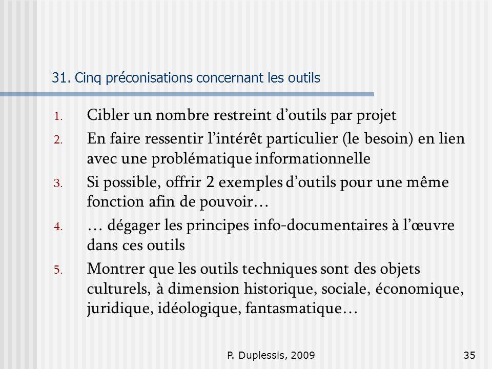 P. Duplessis, 200935 31. Cinq préconisations concernant les outils 1. Cibler un nombre restreint doutils par projet 2. En faire ressentir lintérêt par
