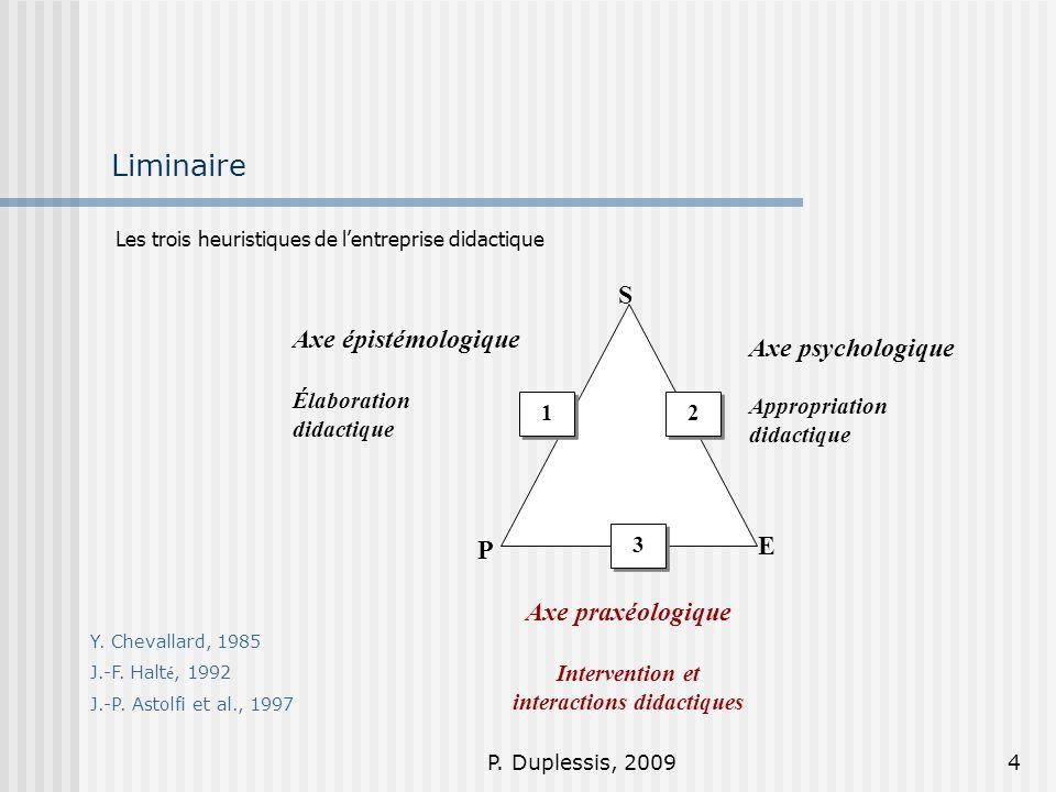 P. Duplessis, 20094 Liminaire Les trois heuristiques de lentreprise didactique S E P 1 1 3 3 2 2 Axe psychologique Appropriation didactique Axe praxéo