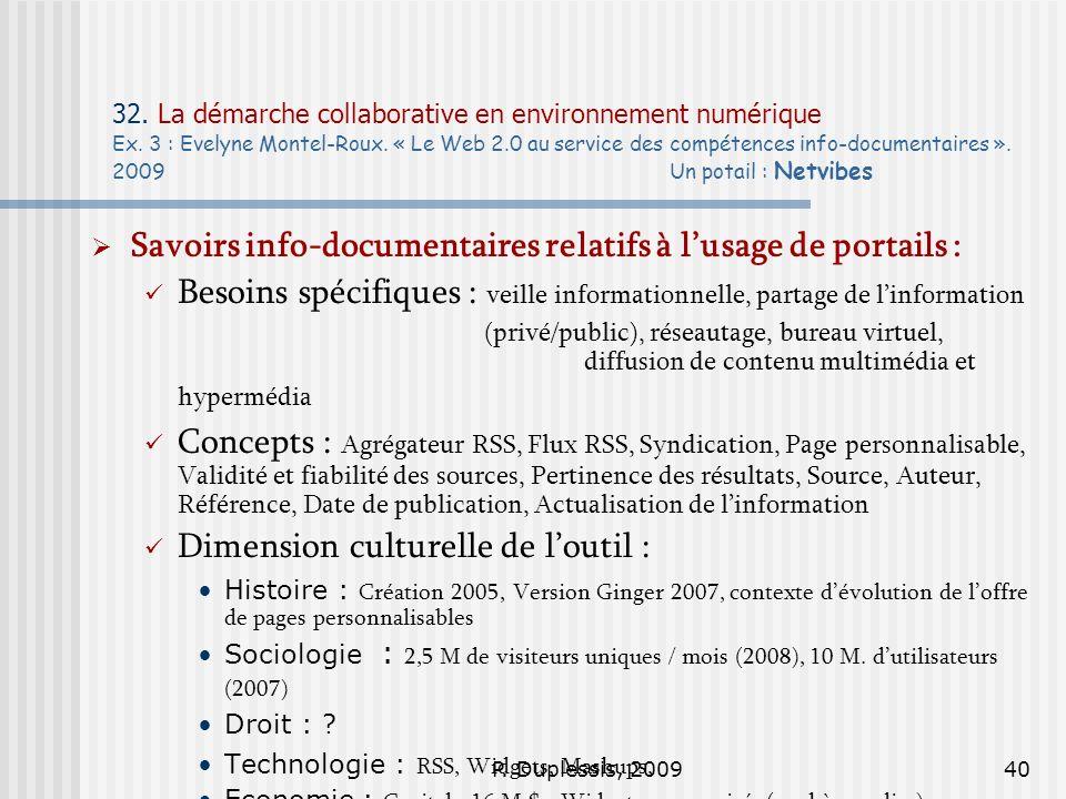 P. Duplessis, 200940 32. La démarche collaborative en environnement numérique Ex. 3 : Evelyne Montel-Roux. « Le Web 2.0 au service des compétences inf
