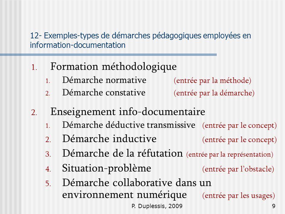 P. Duplessis, 20099 12- Exemples-types de démarches pédagogiques employées en information-documentation 1. Formation méthodologique 1. Démarche normat