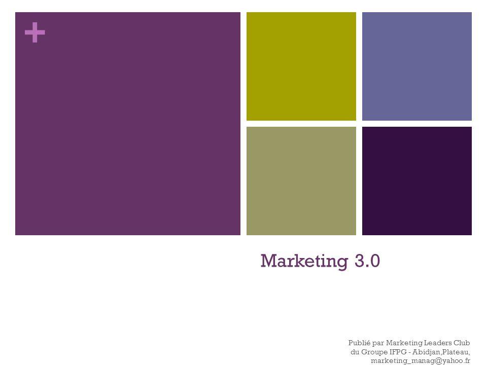 + Avec le marketing 3.0, tout objet sera directement relié à la toile en permanence (1) et y puisera les infos nécessaires à son fonctionnement.
