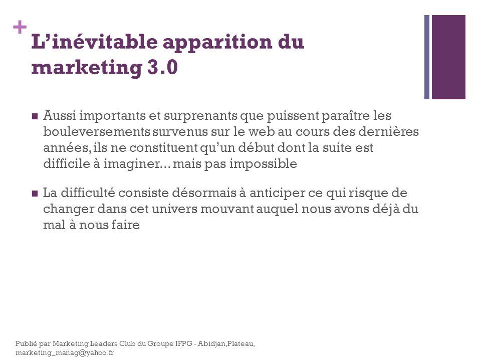 + Linévitable apparition du marketing 3.0 Aussi importants et surprenants que puissent paraître les bouleversements survenus sur le web au cours des d