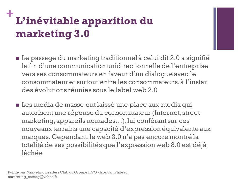 + Les composantes du marketing 3.0 Avancer toujours vers de nouvelles technologies, vers de nouveaux usages et définir de nouveaux concepts marketing et technologiques.