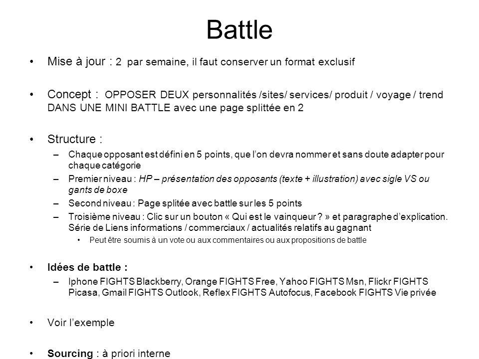 Battle Mise à jour : 2 par semaine, il faut conserver un format exclusif Concept : OPPOSER DEUX personnalités /sites/ services/ produit / voyage / tre
